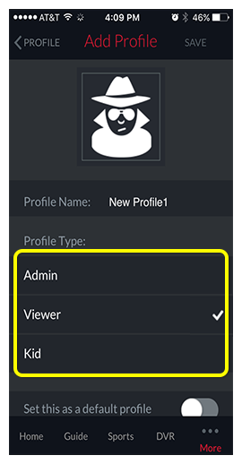 List of profile options in DISH Anywhere phone app - icon, name, type, and whether it's the default profile