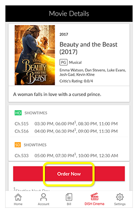 Order Now button on a movie in the MyDISH App