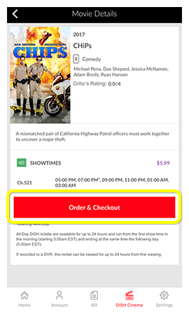 Order and Checkout button on a movie in the MyDISH App