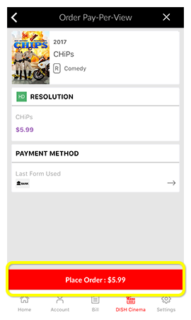 Place Order button on a movie in the MyDISH App
