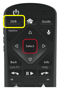 DVR button on 54.0 remote (first button in the top row of three buttons)