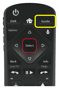 Guide button on 54.0 remote (third button in the top row of three buttons)