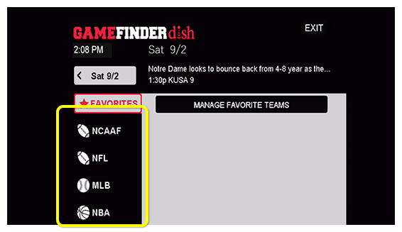 List of sporting leagues in the Game Finder app, like NFL, MLB, and NBA