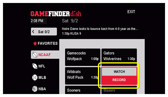 Options to watch or record selected sporting event in the Game Finder app