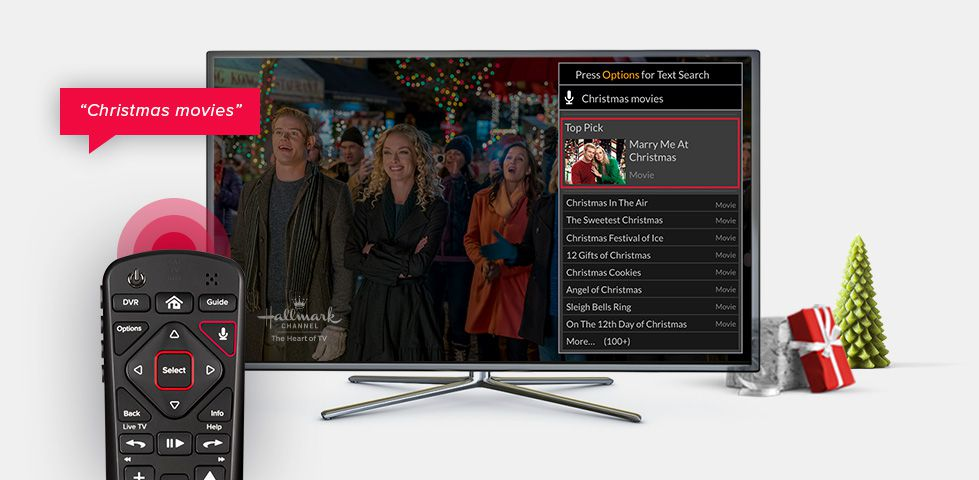 DISH voice remote searching for Christmas movies