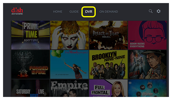 DVR menu option on Fire TV screen