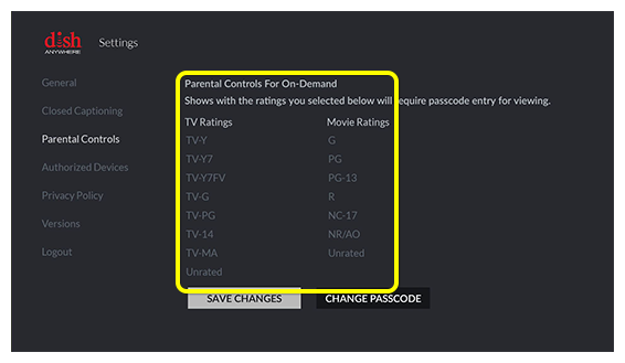 Parental controls settings restricting certain ratings on Fire TV Screen
