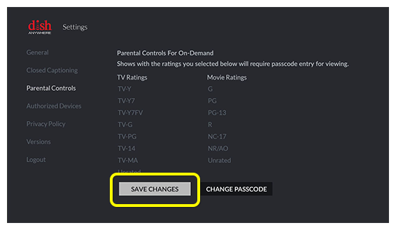 Save Changes button on Fire TV Screen