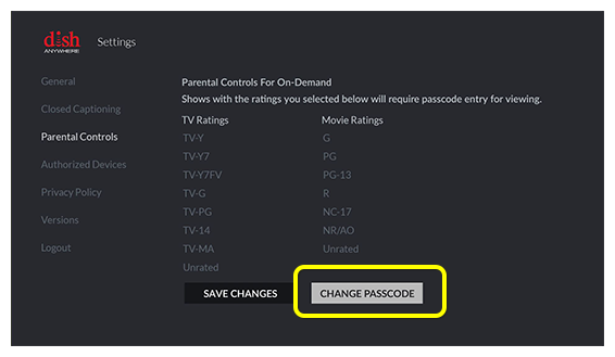 Change Passcode button on Fire TV screen