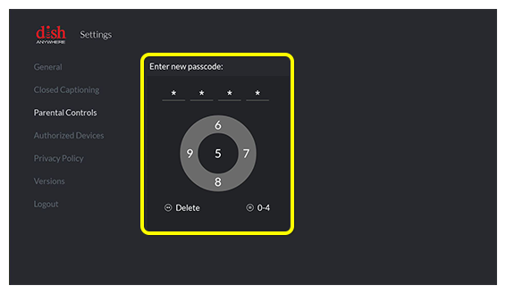 Four-digit passcode entry on Fire TV screen