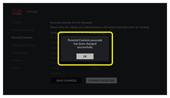 Pop-up with OK button confirming successful passcode creation on Fire TV screen