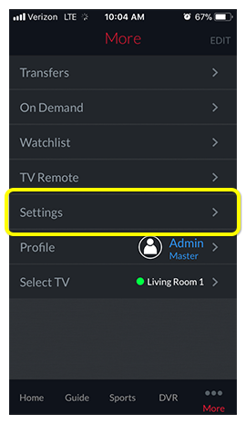 Settings menu option in DISH Anywhere phone app