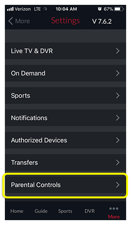 Parental Controls menu option in DISH Anywhere phone app