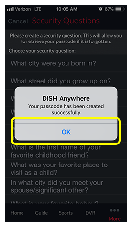 Passcode confirmation pop-up in DISH Anywhere phone app