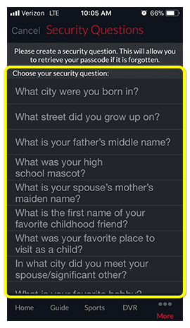 List of possible security questions in DISH Anywhere phone app
