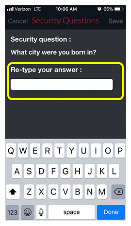 Security question answer field in DISH Anywhere phone app