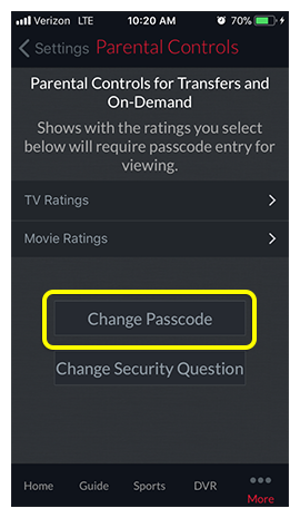 Change Passcode button in DISH Anywhere phone app