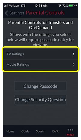 TV and Movie Rating parental control options in DISH Anywhere phone app