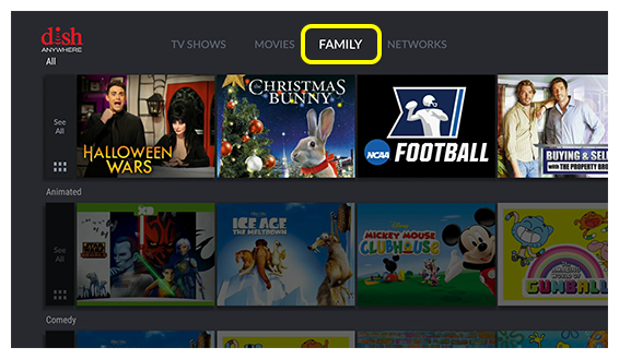 On Demand categories including TV Shows, Movies, and Family content on Fire TV