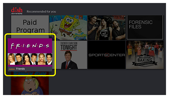 Grid of recommended content on Fire TV