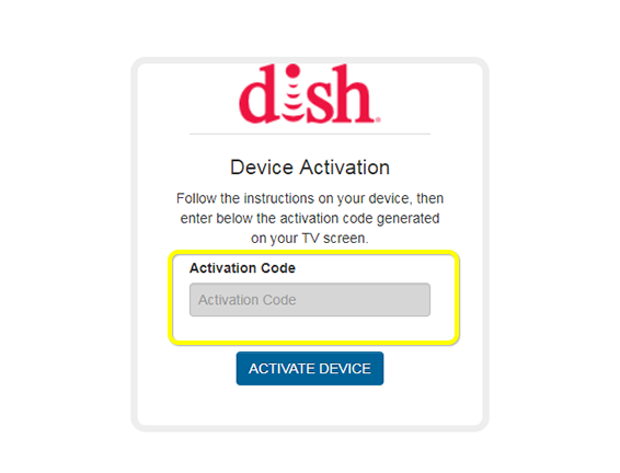 activation code field on DISH Device Activation web form
