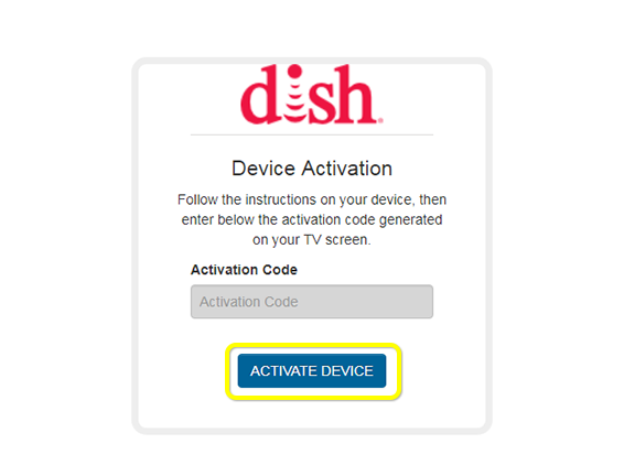 activate device button on DISH Device Activation web form