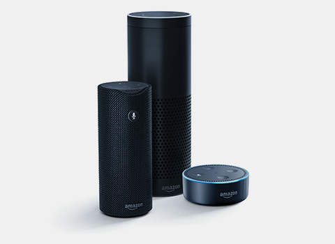 Amazon Echo, Echo Dot, and Echo Tap devices with Alexa