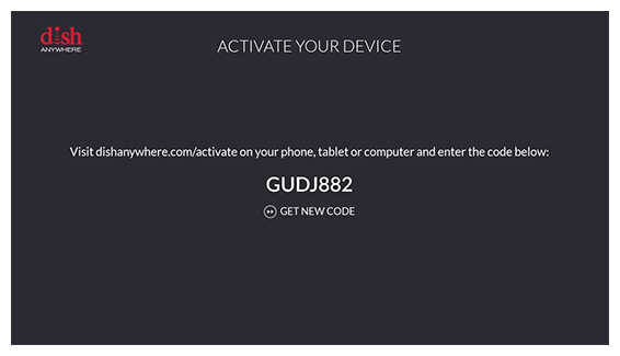 activation code in DISH Anywhere app on Fire TV