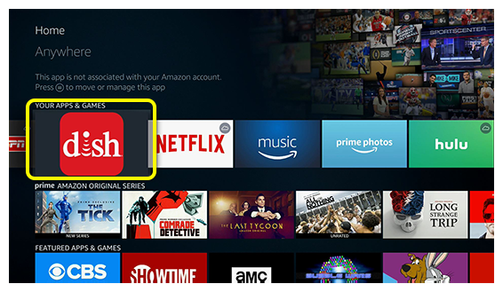 DISH Anywhere app on Fire TV home screen