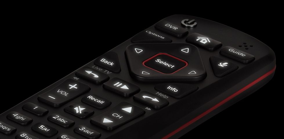 DISH 54.0 Voice Remote showing backlit buttons
