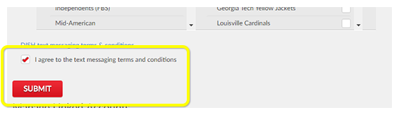 Checkbox for text messaging terms and conditions, above the Submit button