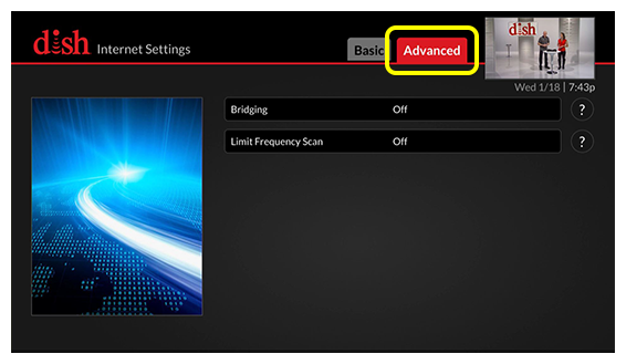 Advanced tab of internet settings screen (use the skip forward button on the remote to select the tab)