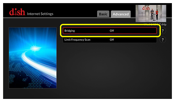 bridging option on advanced internet settings screen (use the remote to move through the grid of menu options)