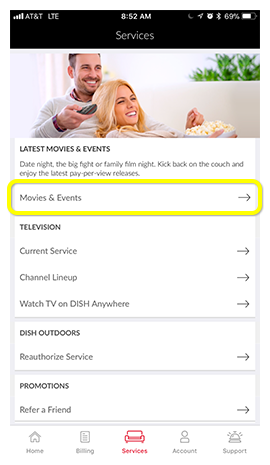 Movies and Events option on Services screen in the MyDISH App