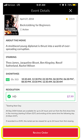 Review Order button on a movie in the MyDISH App