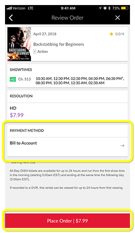 Payment Method button on a movie in the MyDISH App