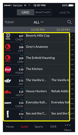 tv guide in DISH Anywhere phone app