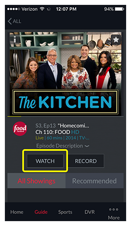 watch button for a program in DISH Anywhere phone app