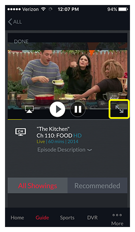 full screen icon on live video in DISH Anywhere phone app