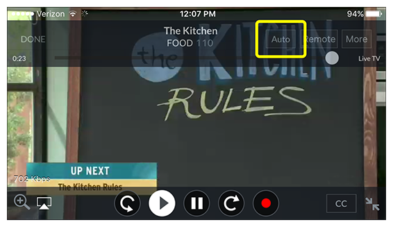 video mode options (auto, remote, more) in DISH Anywhere phone app