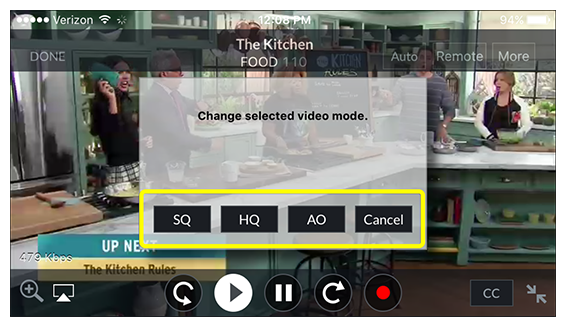 video quality options (standard quality, high quality, audio only, or cancel) in DISH Anywhere phone app