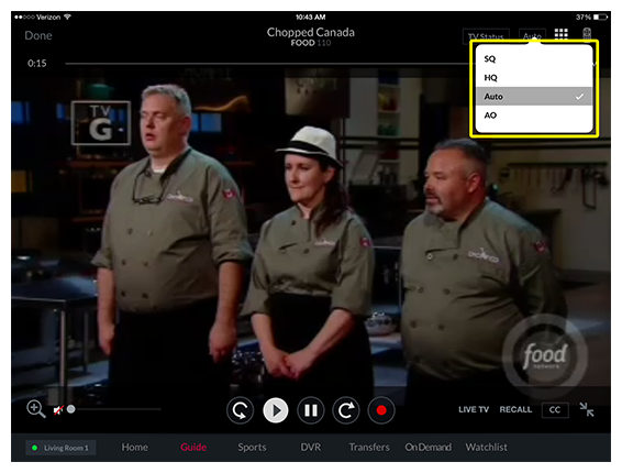 video quality options (standard quality, high quality, audio only, or cancel) in DISH Anywhere tablet app