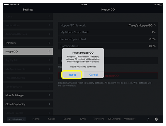 Reset button in DISH Anywhere tablet app confirmation prompt