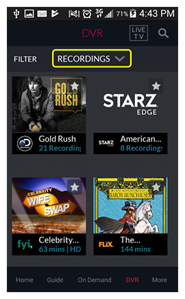 Category dropdown at the top of the DVR section in the DISH Anywhere phone app