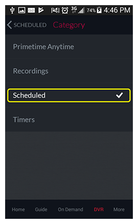 Scheduled option in the DVR Category list in the DISH Anywhere phone app