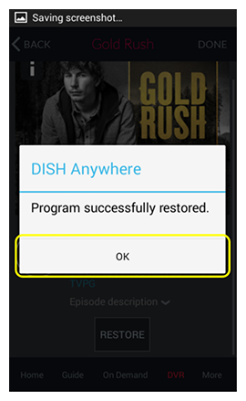 Confirmation popup with OK button in DISH Anywhere phone app