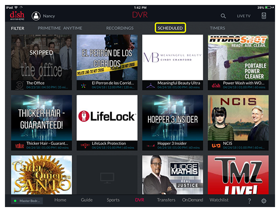 Scheduled option in the DVR section of the DISH Anywhere tablet app