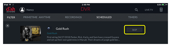 Restore button for a given scheduled recording in the DISH Anywhere tablet app