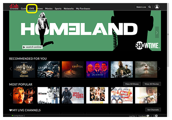 DVR navigation link at the top of DISH Anywhere website