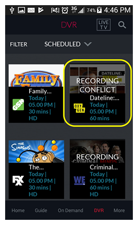 list of scheduled recordings with one showing RECORDING CONFLICT in the DISH Anywhere phone app